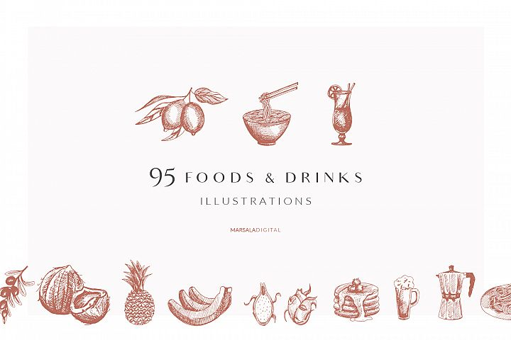 Foods & Drinks Logo Elements Handrawn Graphics