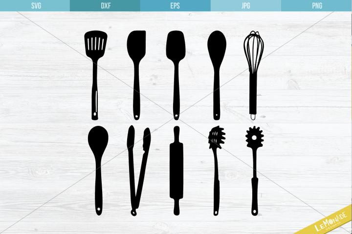 Kitchen Utensils SVG, Kitchen Tools Cutting Files