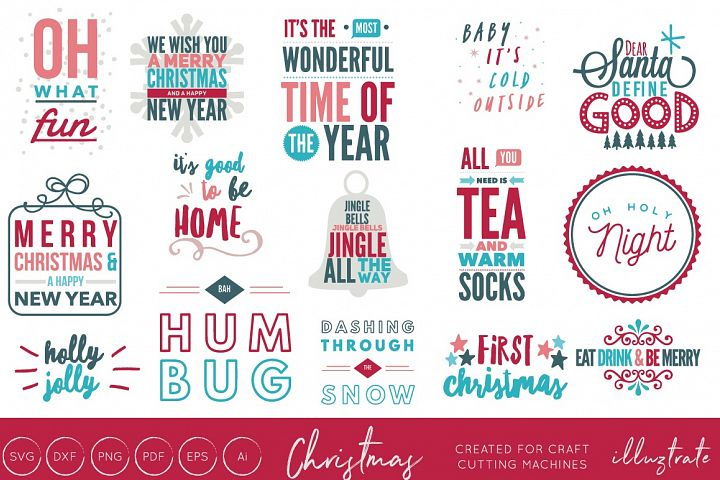 Christmas Quotes Bundle - Typography - 15 Designs