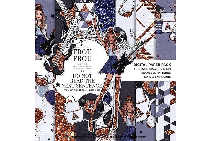 Rock Star Fashion Music Girl Singer Paper Pack