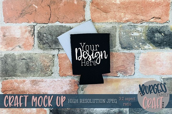 Black can holder & brick wall Craft mock up |High Res JPEG