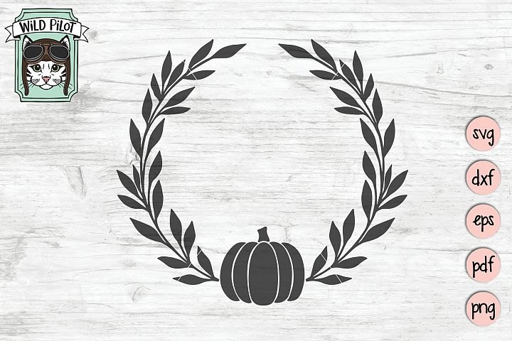 Pumpkin Wreath svg file, Pumpkin Monogram cut file, Fall