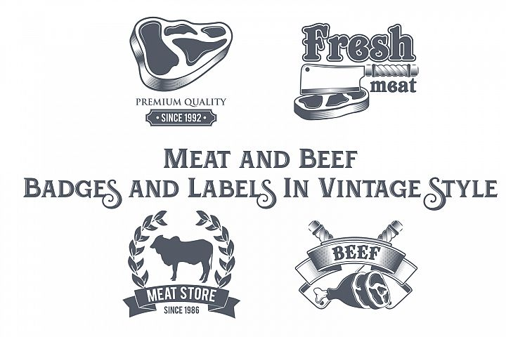Meat and Beef Badges and Labels in Vintage Style