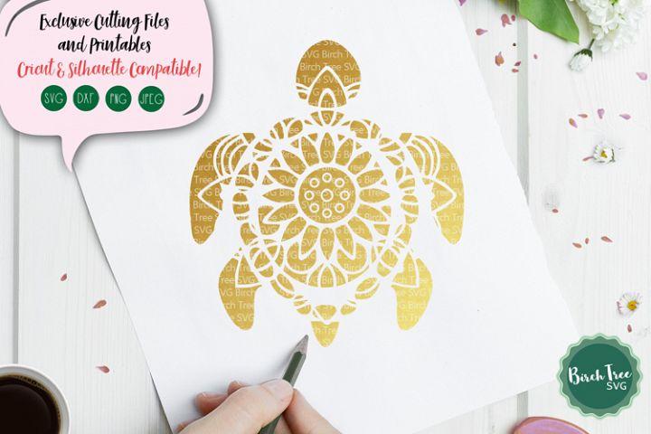 Turtle Mandala SVG Cut File, Turtle SVG, Sea Turtle Svg File