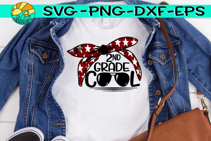 Second Grade Grade Cool - Bandana - Glasses - SVG PNG EPS DX