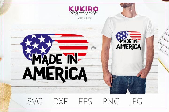 Made in America SVG with sunglasses - 4th Of July cut file