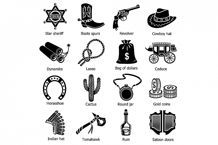 Wild west icons set, simple style