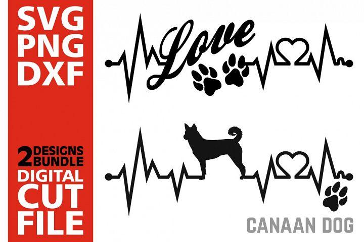2x Canaan Dog Bundle svg, Dog svg, Heartbeat svg, Love, Paws