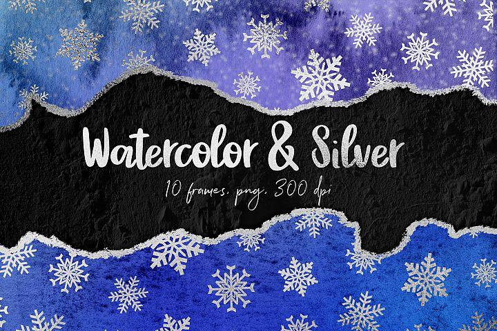 Watercolor & Silver Winter Borders