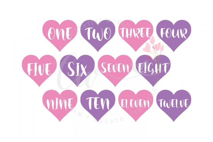 Babys First Year Monthly Milestone svg | Heart svg