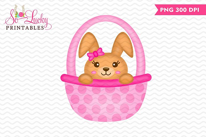 Girl Bunny in Basket printable sublimation design