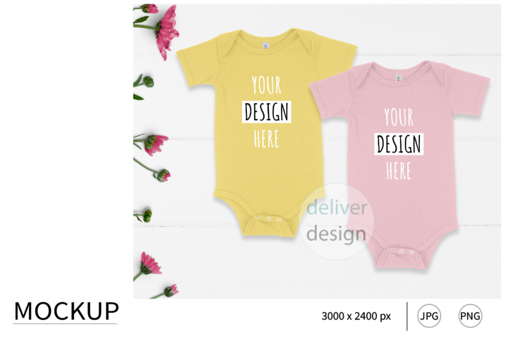 Yellow. Pink. Sibling Outfit Mockup. Bella Canvas 100B.