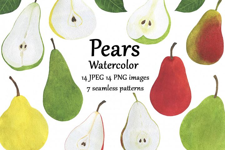 Set pears fruits watercolor food illustration