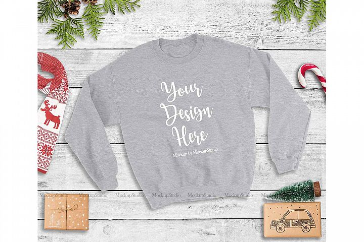 Sport Grey Christmas Sweatshirt Mock Up, Winter Unisex