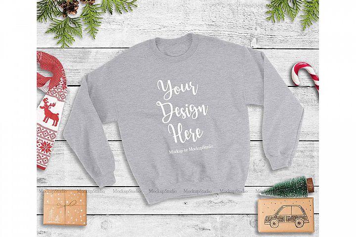 Sport Grey Christmas Sweatshirt Mock Up, Winter Unisex