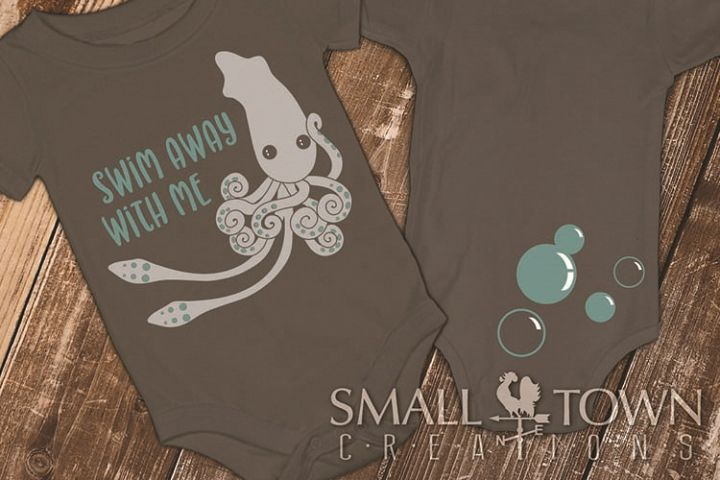 Squid logo, Nautical, Ocean animal, PRINT, CUT & DESIGN