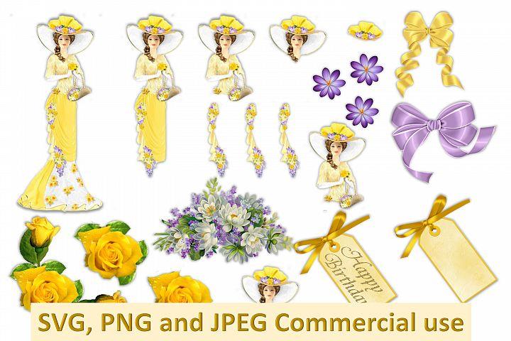 Vintage Collage Clipart Bundle Commercial Use SVG PNG JPEG