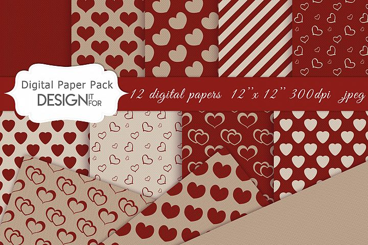Knitted Valentines Day digital paper pack, love patterns