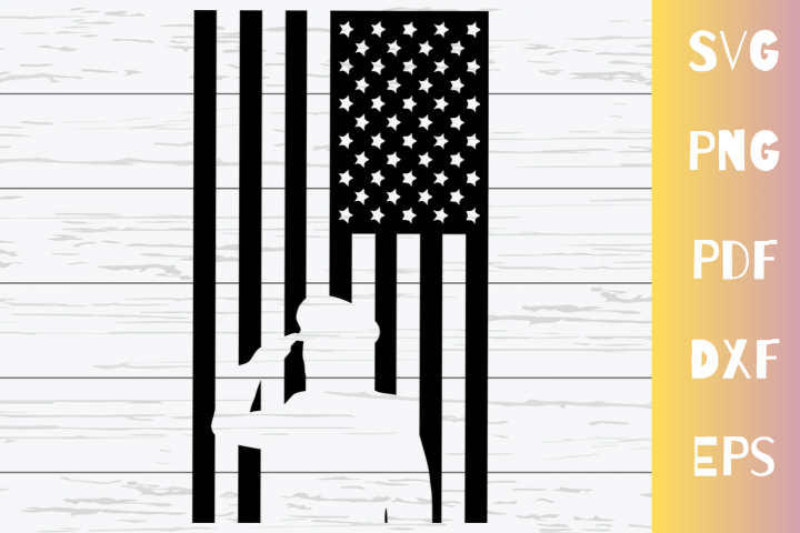 Salute American Flag SVG Cut File|PNG|EPS|DXF|PDF