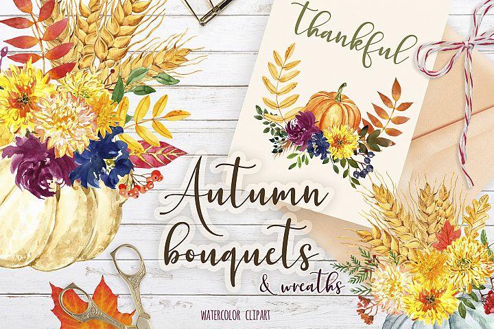 Watercolor Autumn Pumpkin and Floral bouquets Clipart