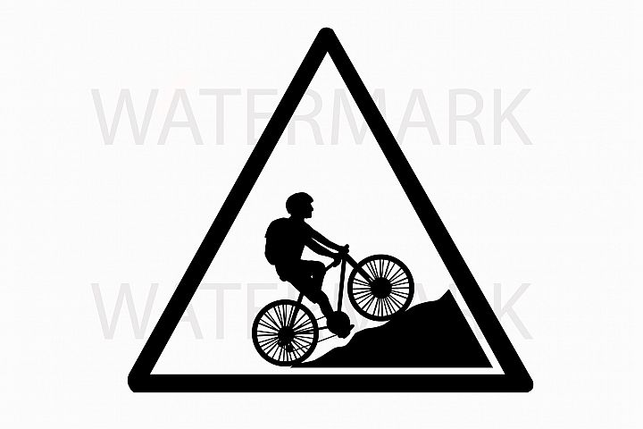 Bike on mountain in a triangle sign - SVG/JPG/PNG Hand Drawing