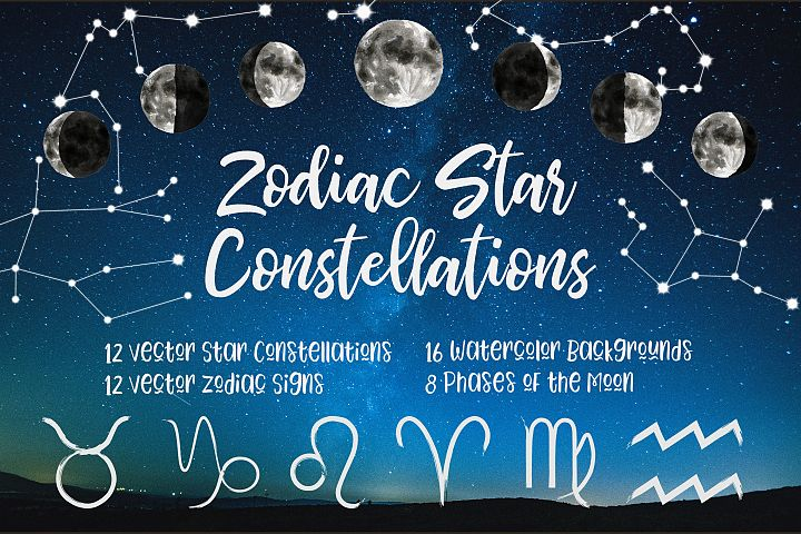 Zodiac Vector Clip Art, Constellations, Signs, Watercolor