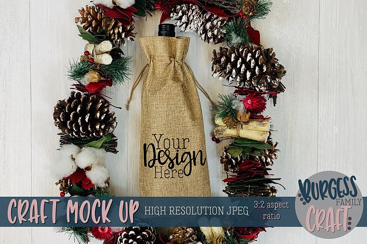 Christmas wine bag garland Craft mock up |High Res JPEG