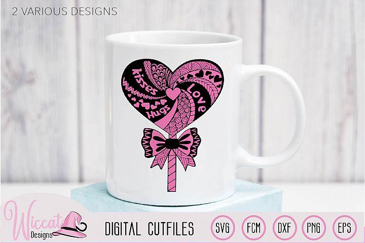 Lollipop zentangle Heart, valentine doodle heart svg