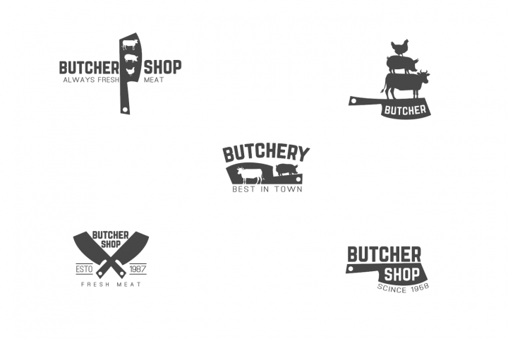 Butcher shop logo pack + bonus color logo