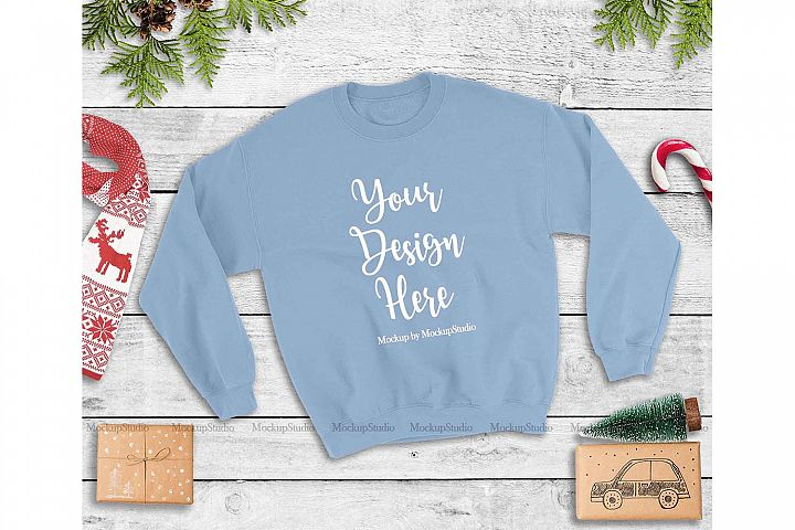 Light Blue Christmas Winter Gildan Unisex Sweatshirt Mock Up