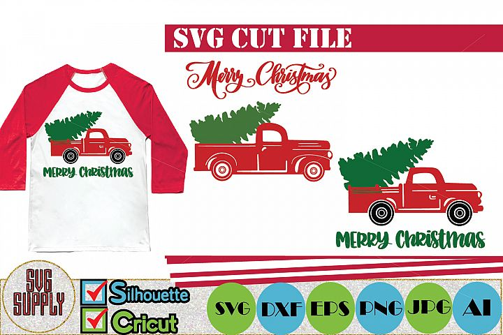 Christmas Tree Truck SVG Cut File