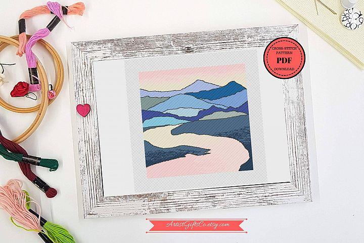 Nature landscape mountain, Cross stitch pattern PDF