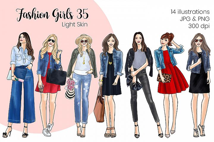 Fashion illustration clipart - Fashion Girls 35 - Light Skin