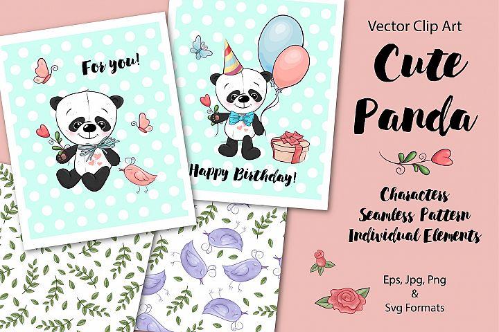 Cute Panda - vector clip art