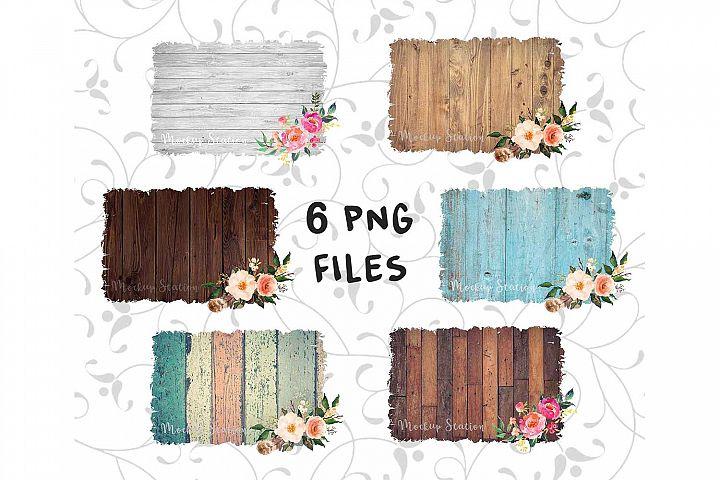 Sublimation Wood Background PNG Bundle, Splashes Clip Art