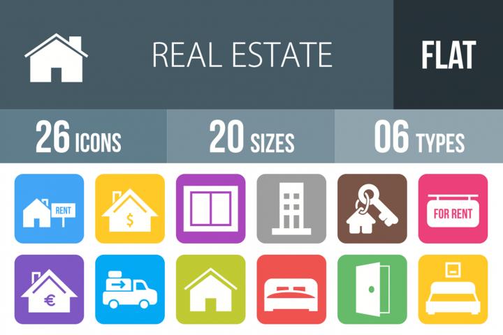 26 Real Estate Filled Round Corner Icons
