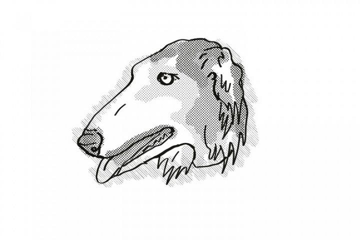 Borzoi Dog Breed Cartoon Retro Drawing