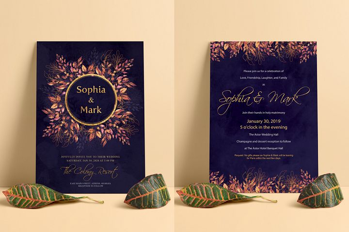 Modern Floral Wedding Invitation Modern Floral Wedding