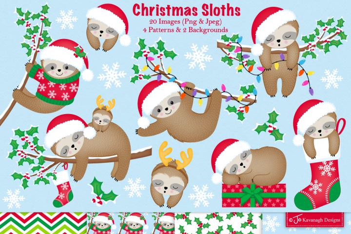 Christmas sloth clipart, Sloth graphics & illustration -C38
