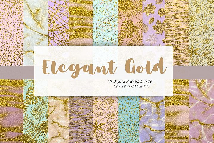 Gold x Colorful Marble Digital Paper Bundle