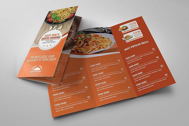 Restaurant Food Menu Tri-Fold Brochure Tempalte