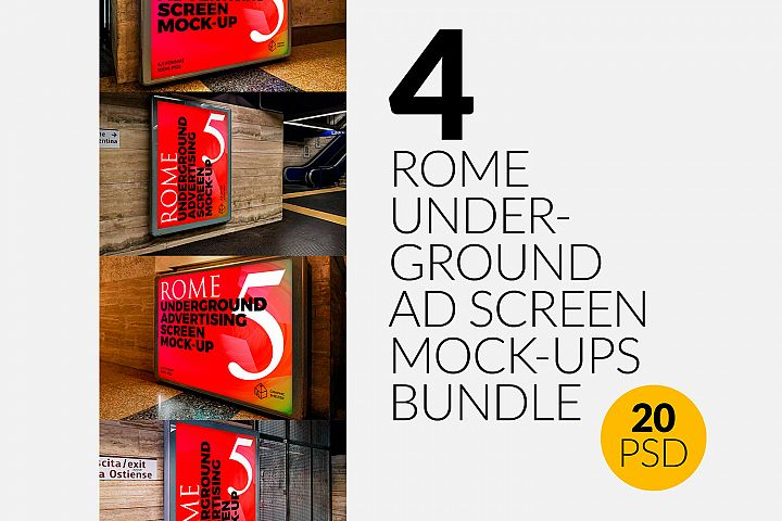 4 Rome Undrground Ad Screen Mock-Ups Bundle