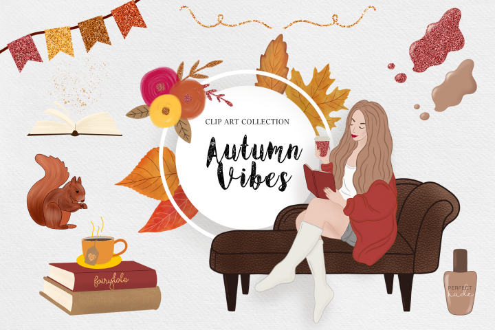 Autumn Clipart, Fashion Girl, Digital Backgrounds Fall Vibes