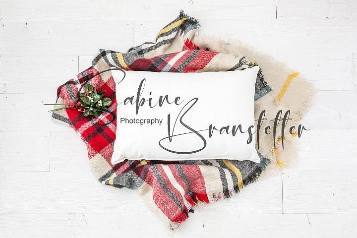 Styled Stock Photo Rectangle White Pillow Christmas Mockup