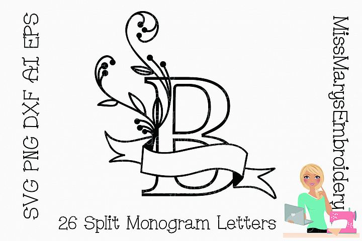 Split Monogram Letters SVG Cutting File PNG DXF AI EPS