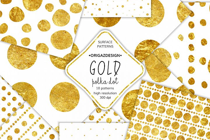 Gold foil Polka dot Seamless Pattern