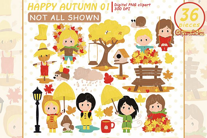Cutel Autumn clipart - Playing in Leaves - INSTANT download