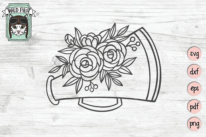 Cheerleading SVG, Cheer, Cheerleader, Megaphone, floral
