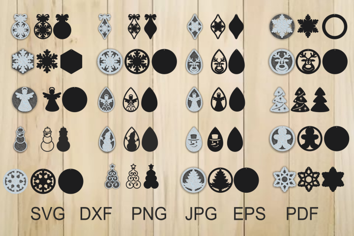 Christmas Earrings SVG, Jewelry Laser Cut Template
