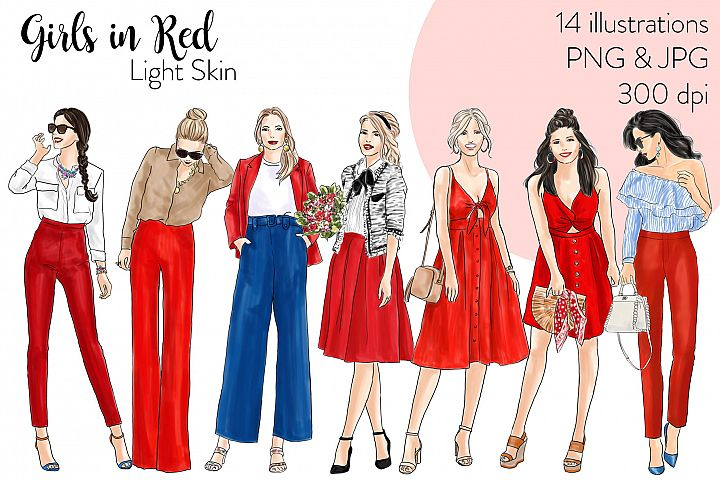 Fashion illustration clipart - Girls in red - Light Skin